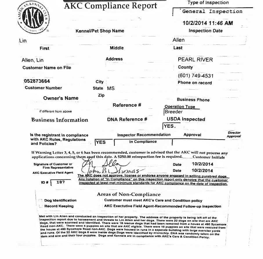 """The now-infamous 2014 AKC inspection report of then Breeder of Merit Lynne Hackney, certifying that she was in compliance with AKC's policies, including its """"Care and Conditions"""" policies"""