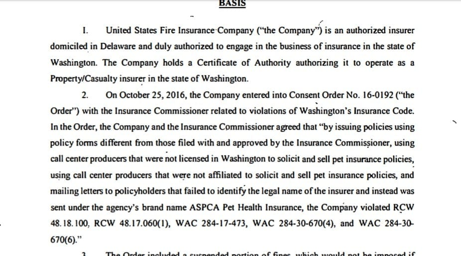 """ASPCA Pet Health Insurance: Washington Insurance Commissioner citation for """"mailing letters to policyholders that failed to identify the legal name of the insurer and instead was sent under the agency's brand name ASPCA Pet Health Insurance"""""""