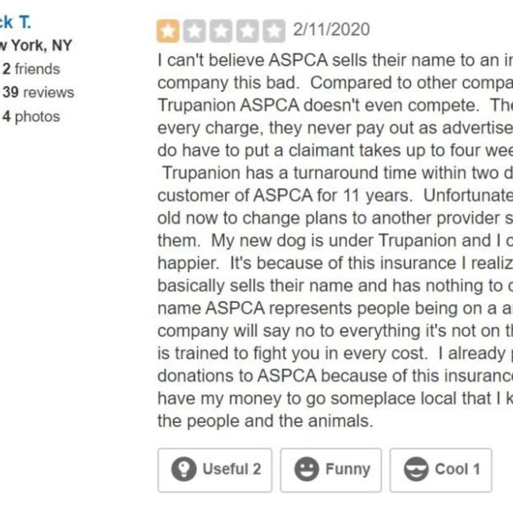 Rick T. ASPCA Insurance Yelp 2/11/2020